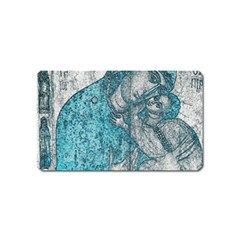 Mother Mary And Infant Jesus Christ  Blue Portrait Old Vintage Drawing Magnet (Name Card)
