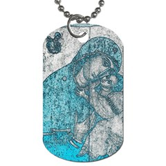 Mother Mary And Infant Jesus Christ  Blue Portrait Old Vintage Drawing Dog Tag (Two Sides)
