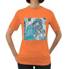 Mother Mary And Infant Jesus Christ  Blue Portrait Old Vintage Drawing Women s Dark T-Shirt