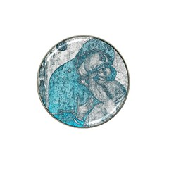 Mother Mary And Infant Jesus Christ  Blue Portrait Old Vintage Drawing Hat Clip Ball Marker (4 pack)