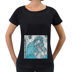 Mother Mary And Infant Jesus Christ  Blue Portrait Old Vintage Drawing Women s Loose-Fit T-Shirt (Black)