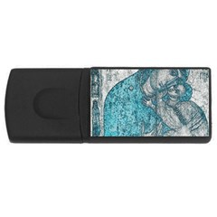 Mother Mary And Infant Jesus Christ  Blue Portrait Old Vintage Drawing USB Flash Drive Rectangular (4 GB)