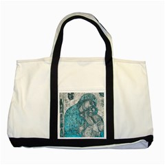 Mother Mary And Infant Jesus Christ  Blue Portrait Old Vintage Drawing Two Tone Tote Bag