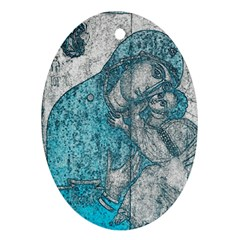 Mother Mary And Infant Jesus Christ  Blue Portrait Old Vintage Drawing Oval Ornament (Two Sides)