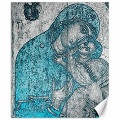 Mother Mary And Infant Jesus Christ  Blue Portrait Old Vintage Drawing Canvas 8  x 10