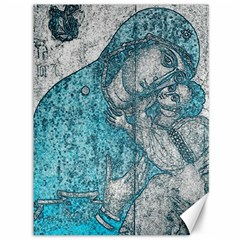 Mother Mary And Infant Jesus Christ  Blue Portrait Old Vintage Drawing Canvas 36  x 48