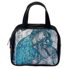 Mother Mary And Infant Jesus Christ  Blue Portrait Old Vintage Drawing Classic Handbags (One Side)
