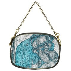 Mother Mary And Infant Jesus Christ  Blue Portrait Old Vintage Drawing Chain Purses (One Side)