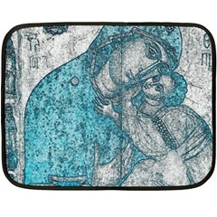 Mother Mary And Infant Jesus Christ  Blue Portrait Old Vintage Drawing Double Sided Fleece Blanket (Mini)