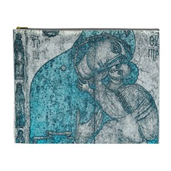 Mother Mary And Infant Jesus Christ  Blue Portrait Old Vintage Drawing Cosmetic Bag (XL)