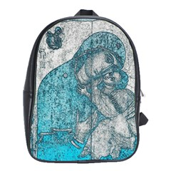 Mother Mary And Infant Jesus Christ  Blue Portrait Old Vintage Drawing School Bags(Large)