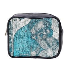 Mother Mary And Infant Jesus Christ  Blue Portrait Old Vintage Drawing Mini Toiletries Bag 2-Side