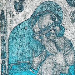 Mother Mary And Infant Jesus Christ  Blue Portrait Old Vintage Drawing Magic Photo Cubes