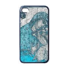 Mother Mary And Infant Jesus Christ  Blue Portrait Old Vintage Drawing Apple iPhone 4 Case (Black)