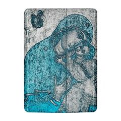 Mother Mary And Infant Jesus Christ  Blue Portrait Old Vintage Drawing Kindle 4