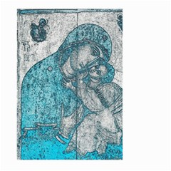 Mother Mary And Infant Jesus Christ  Blue Portrait Old Vintage Drawing Large Garden Flag (Two Sides)