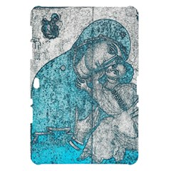 Mother Mary And Infant Jesus Christ  Blue Portrait Old Vintage Drawing Samsung Galaxy Tab 10.1  P7500 Hardshell Case