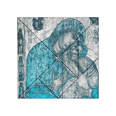 Mother Mary And Infant Jesus Christ  Blue Portrait Old Vintage Drawing Acrylic Tangram Puzzle (4  x 4 )