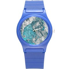 Mother Mary And Infant Jesus Christ  Blue Portrait Old Vintage Drawing Round Plastic Sport Watch (S)