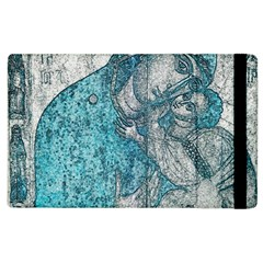 Mother Mary And Infant Jesus Christ  Blue Portrait Old Vintage Drawing Apple iPad 2 Flip Case