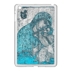 Mother Mary And Infant Jesus Christ  Blue Portrait Old Vintage Drawing Apple iPad Mini Case (White)