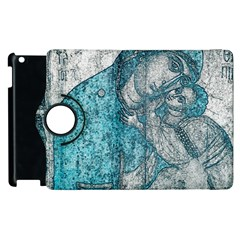 Mother Mary And Infant Jesus Christ  Blue Portrait Old Vintage Drawing Apple iPad 2 Flip 360 Case
