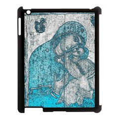 Mother Mary And Infant Jesus Christ  Blue Portrait Old Vintage Drawing Apple iPad 3/4 Case (Black)
