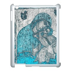 Mother Mary And Infant Jesus Christ  Blue Portrait Old Vintage Drawing Apple iPad 3/4 Case (White)