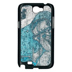 Mother Mary And Infant Jesus Christ  Blue Portrait Old Vintage Drawing Samsung Galaxy Note 2 Case (Black)