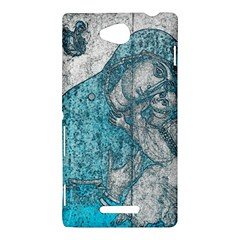 Mother Mary And Infant Jesus Christ  Blue Portrait Old Vintage Drawing Sony Xperia C (S39H)
