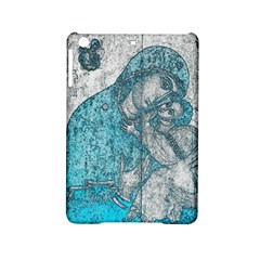 Mother Mary And Infant Jesus Christ  Blue Portrait Old Vintage Drawing iPad Mini 2 Hardshell Cases