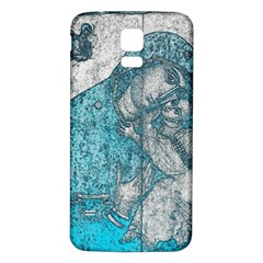 Mother Mary And Infant Jesus Christ  Blue Portrait Old Vintage Drawing Samsung Galaxy S5 Back Case (White)