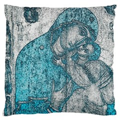Mother Mary And Infant Jesus Christ  Blue Portrait Old Vintage Drawing Large Flano Cushion Case (One Side)