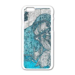 Mother Mary And Infant Jesus Christ  Blue Portrait Old Vintage Drawing Apple iPhone 6/6S White Enamel Case