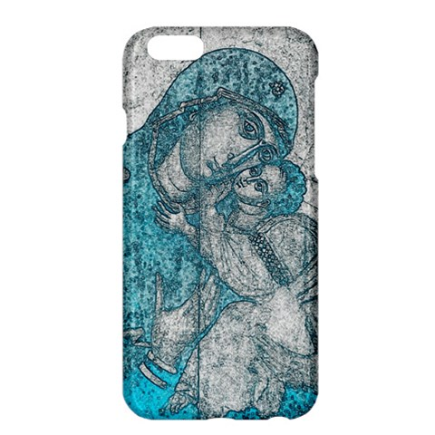 Mother Mary and Infant Jesus Christ  blue portrait old vintage drawing Apple iPhone 6 Plus/6S Plus Hardshell Case