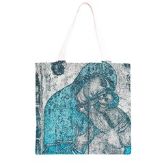 Mother Mary And Infant Jesus Christ  Blue Portrait Old Vintage Drawing Grocery Light Tote Bag