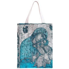 Mother Mary And Infant Jesus Christ  Blue Portrait Old Vintage Drawing Classic Light Tote Bag