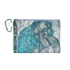Mother Mary And Infant Jesus Christ  Blue Portrait Old Vintage Drawing Canvas Cosmetic Bag (M)