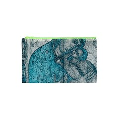 Mother Mary And Infant Jesus Christ  Blue Portrait Old Vintage Drawing Cosmetic Bag (XS)
