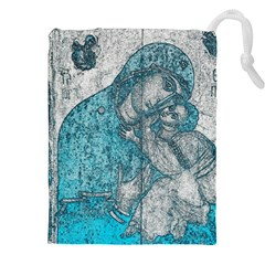 Mother Mary And Infant Jesus Christ  Blue Portrait Old Vintage Drawing Drawstring Pouches (XXL)