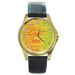 Chill Out Round Gold Metal Watch