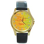 Chill out Round Gold Metal Watch Front