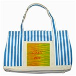 Chill out Striped Blue Tote Bag Front