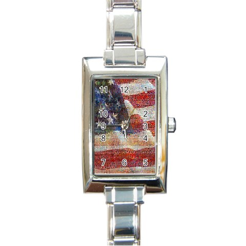 Grunge United State Of Art Flag Rectangle Italian Charm Watch