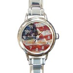 Grunge United State Of Art Flag Round Italian Charm Watch Front