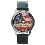 Grunge United State Of Art Flag Round Metal Watch Front