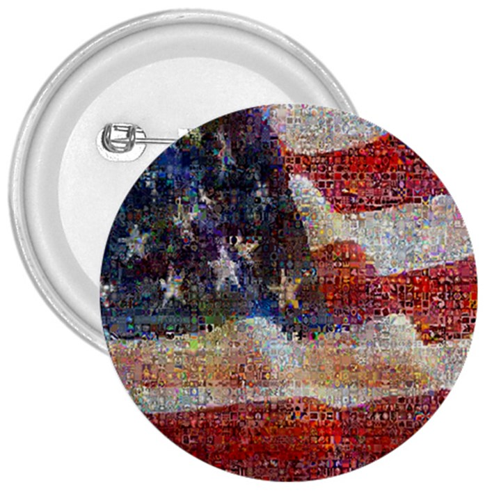 Grunge United State Of Art Flag 3  Buttons