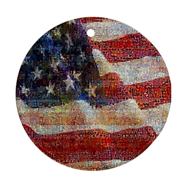 Grunge United State Of Art Flag Ornament (Round)