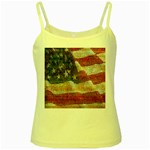 Grunge United State Of Art Flag Yellow Spaghetti Tank Front