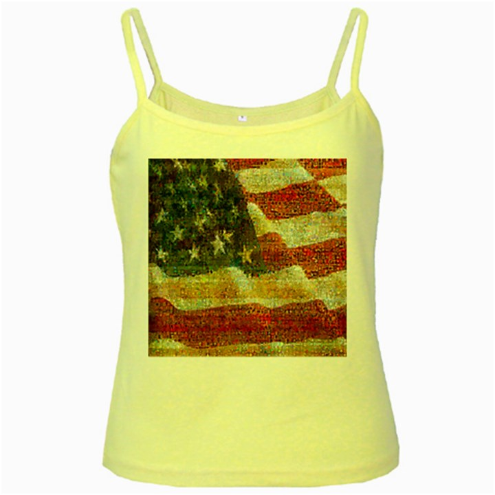 Grunge United State Of Art Flag Yellow Spaghetti Tank